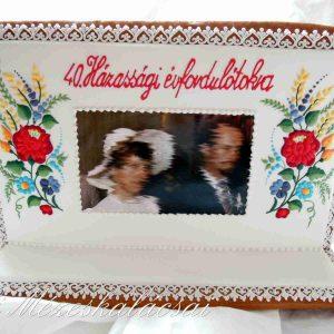 Házassági évfordulós plakett kalocsai csokorral