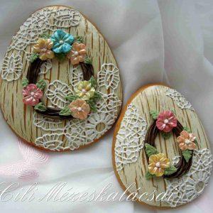 Húsvéti tojás natúr antik alapon csipkés-virágos