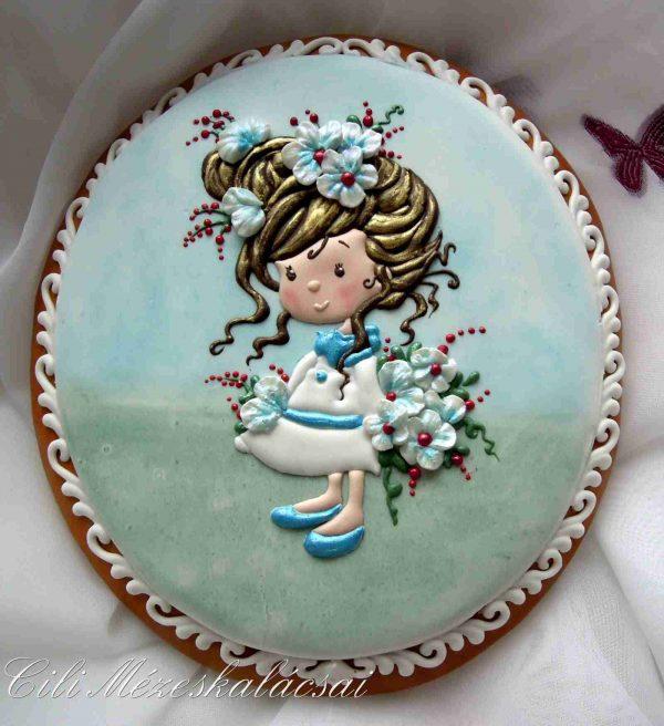 Kislány virággal fehér ruhás