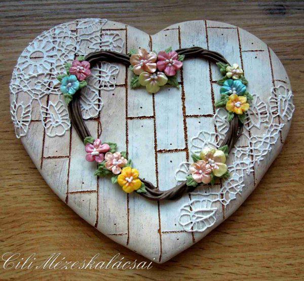 Vintage mézeskalács szív