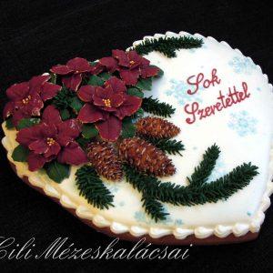 Mikulás virágos nagy karácsonyi szív