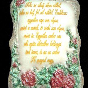 Ütőfás színes rózsás mézeskalács plakett