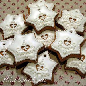 Cukormázas karácsonyi mézeskalács csillag