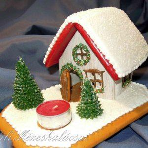Színes téli mécseskalács házikó