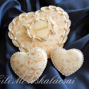 Barokkos nagy mézeskalács szív