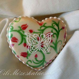 Tulipán festett pillangós mézeskalács kis szív
