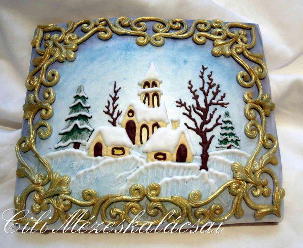 Éjszakai téli falu mézeskalácsból